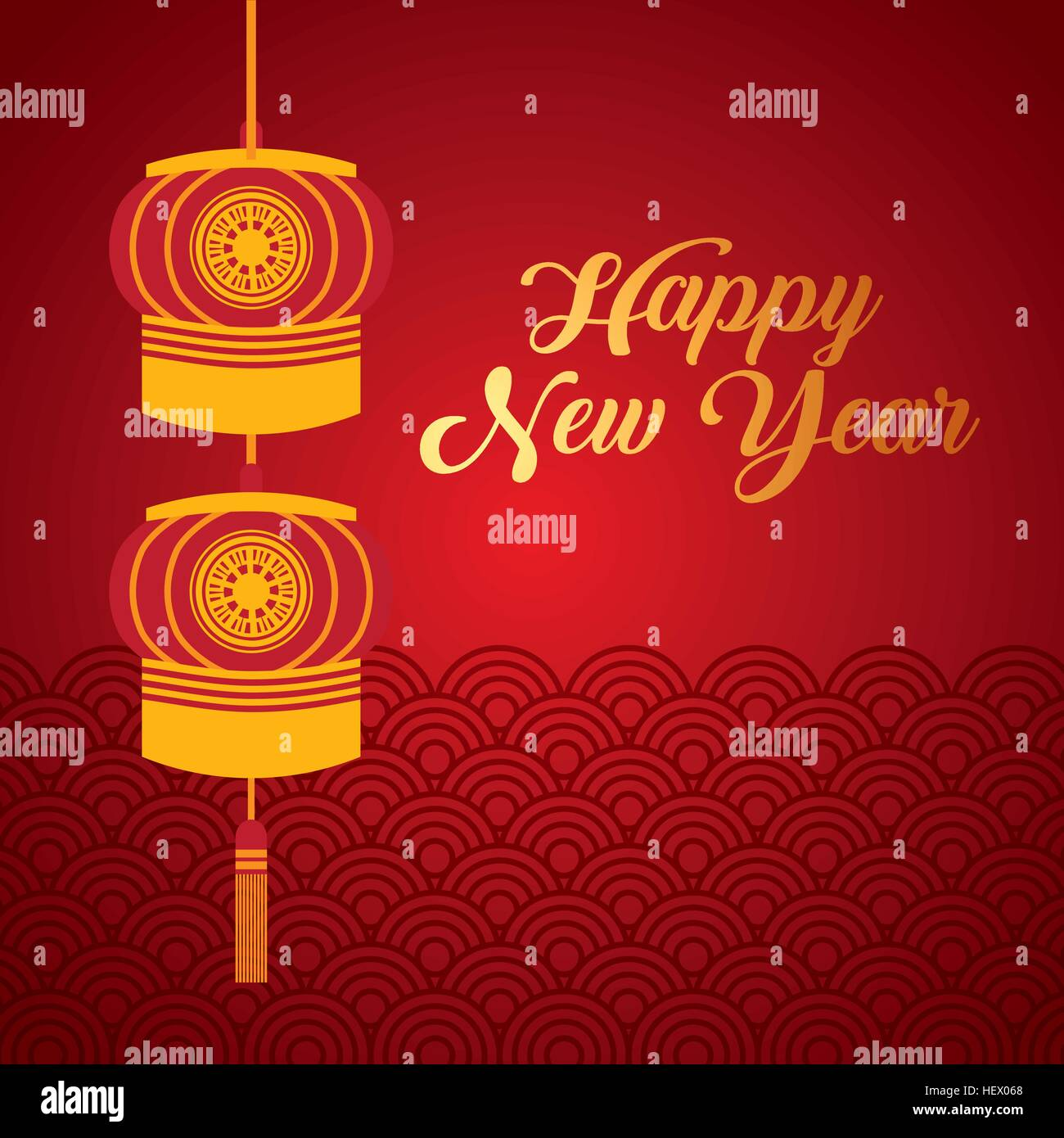 Happy New Year Card With Chinese Lantern Decorations Hanging Over