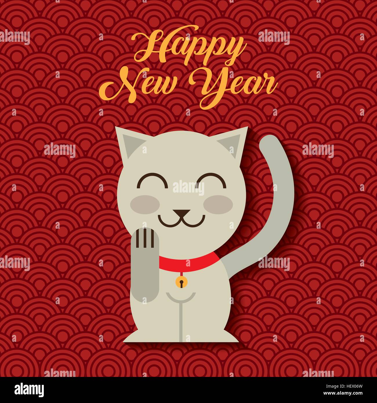 happy new year card with iconic japanese kitten icon over red background colorful design