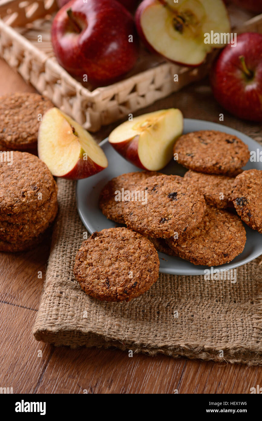 homemade cookies with cereal and apples - Stock Image
