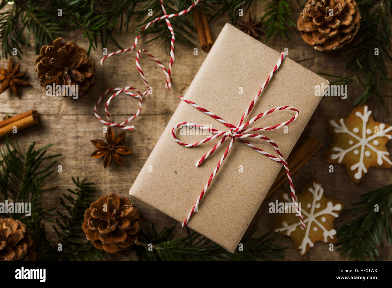 Christmas present wrapped in kraft paper surrounded of natural d - Stock Image