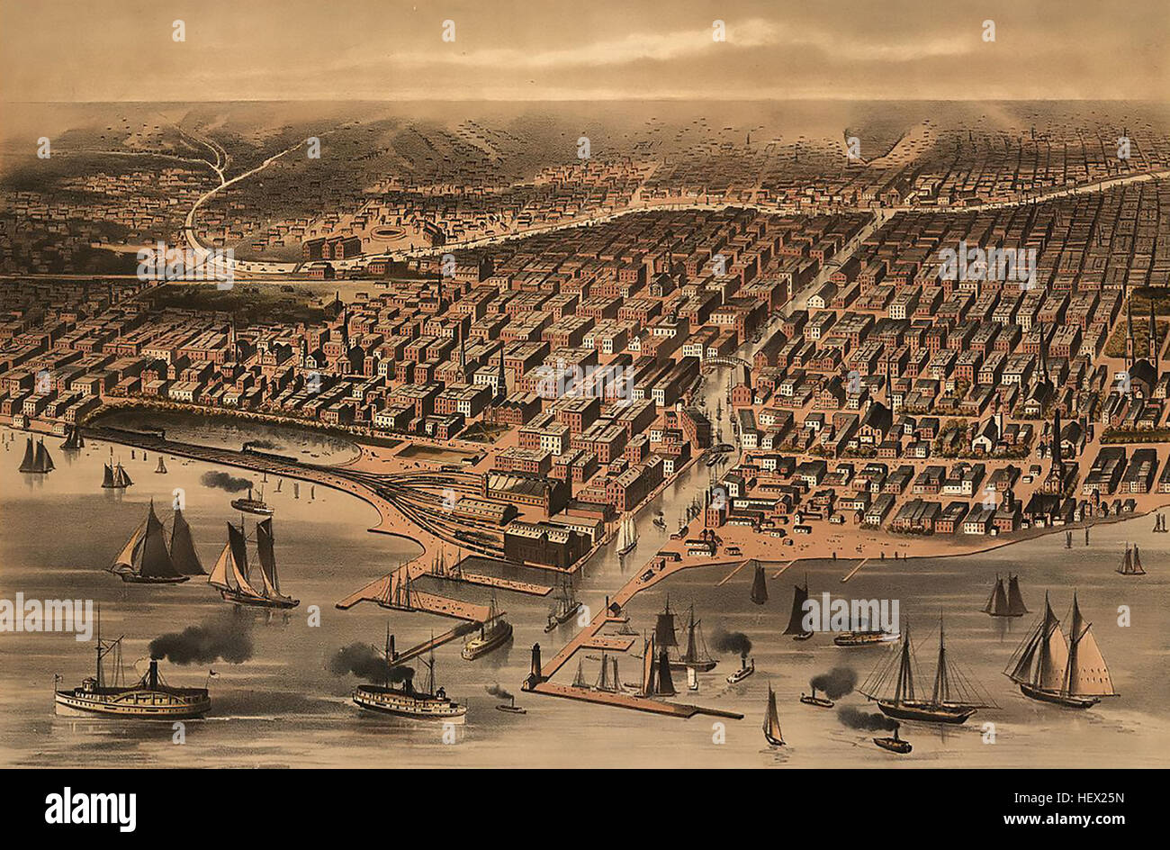 CHICAGO before the great fire of 1871 - Stock Image
