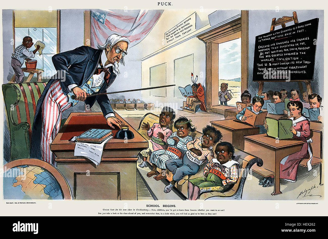 SCHOOL BEGINS Cartoon from American satirical magazine Puck on 25 January 1899 showing Uncle Sam teaching the newly - Stock Image