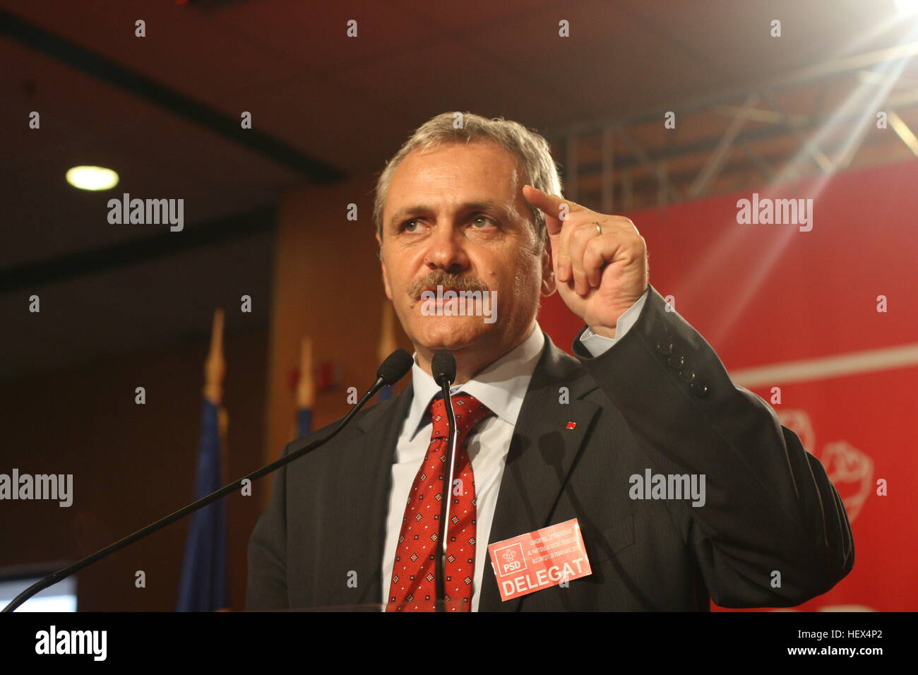 BUCHAREST, ROMANIA - February 20, 2010: Liviu Dragnea, speaks at the National Congress of Social Democrat Party - Stock Image