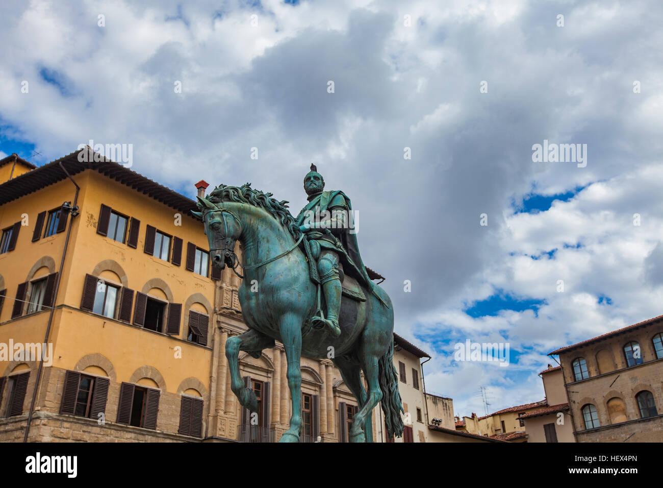 Statua equestre di Cosimo at Piazza della Signoria in Florence, Italy - Stock Image