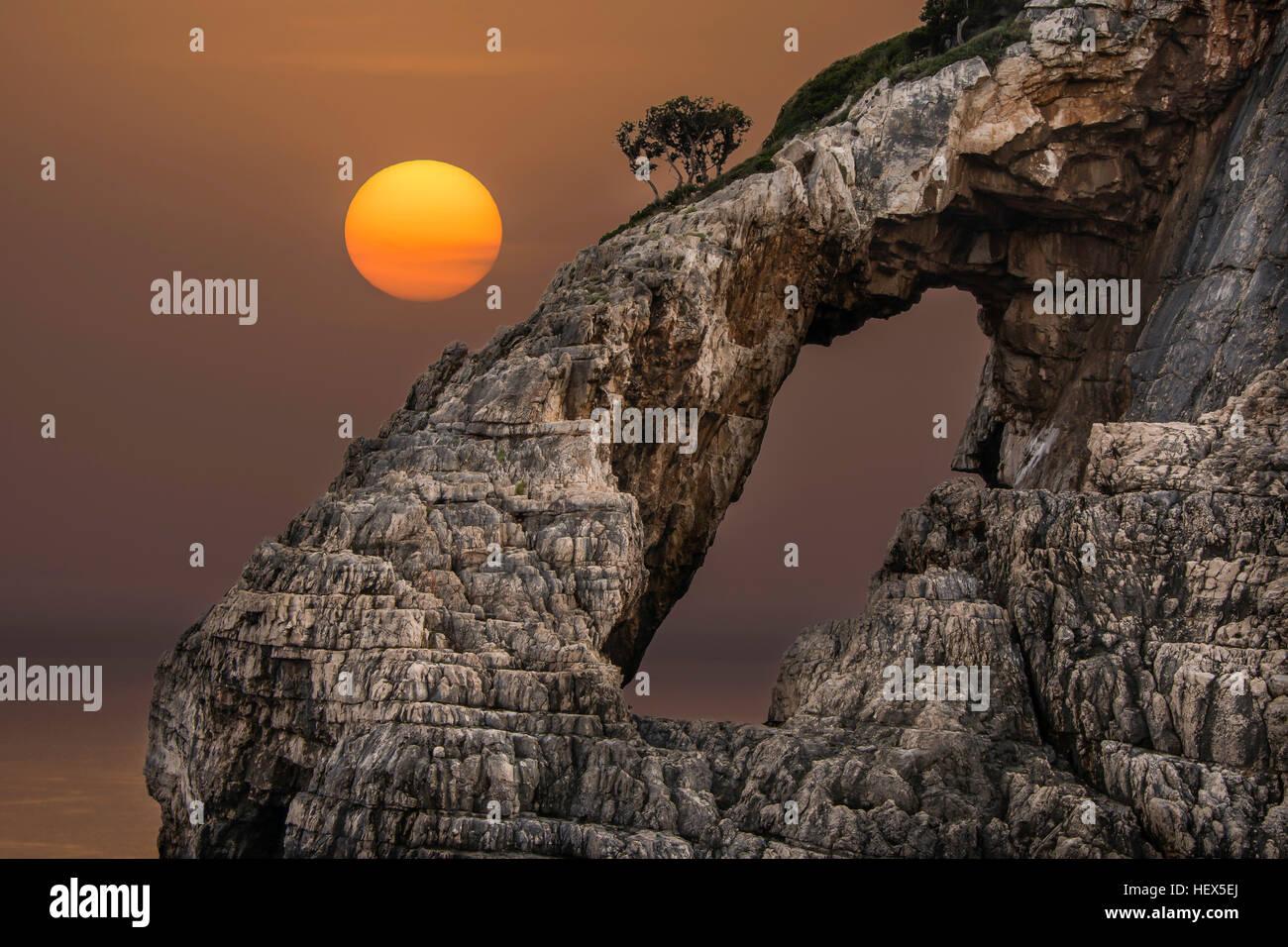 Beautiful sunset from Zakynthos island Greece - Stock Image