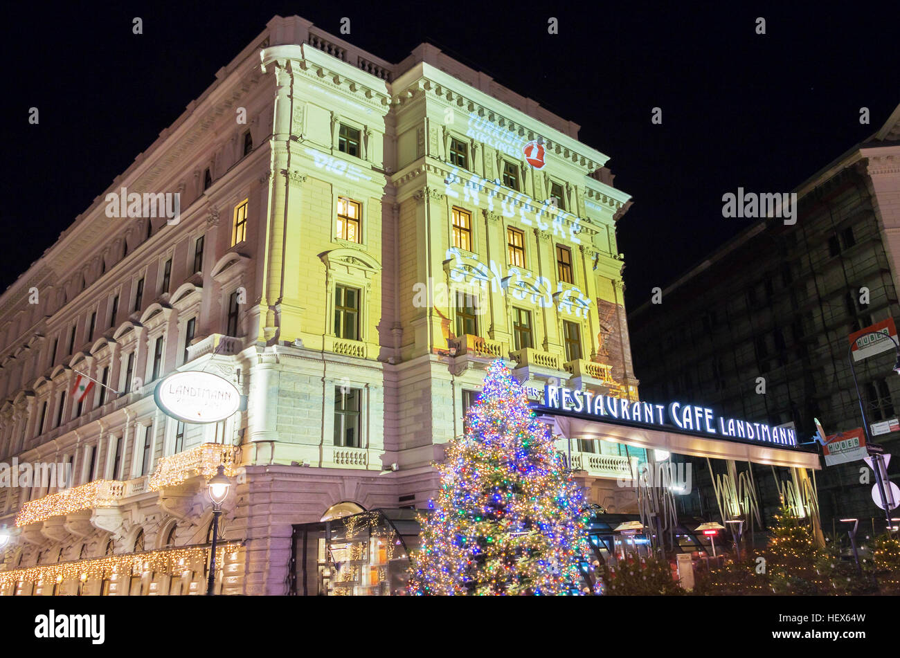 Vienna, Austria-December 10, 2016 : The  cafe Landtmann was founded in 1873.It is legendary Viennese institution - Stock Image