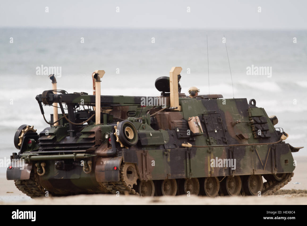 A us marine m88 hercules recovery vehicle with charlie company a us marine m88 hercules recovery vehicle with charlie company 1st tank battalion disembarks onto red beach aboard camp pendleton calif march 2 2011 reheart Images