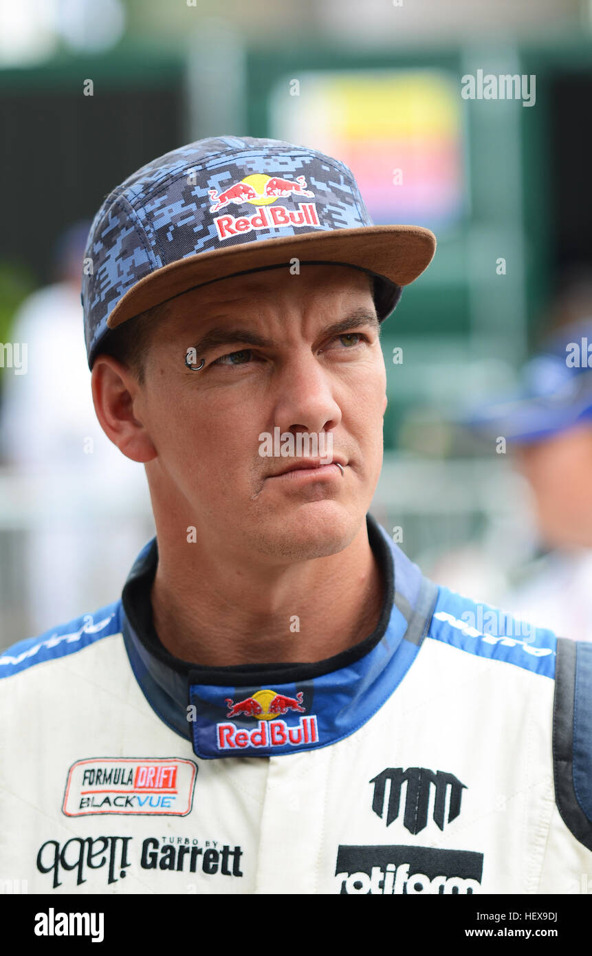 Michael Whiddett, also known as 'Mad Mike', is a New Zealand drifting racer. He is sponsored by Red Bull. - Stock Image