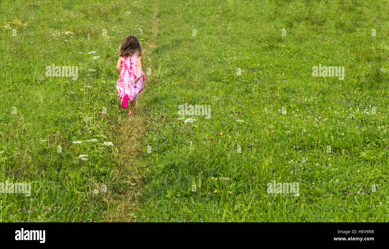 Rear view of girl walking on track in field - Stock Image