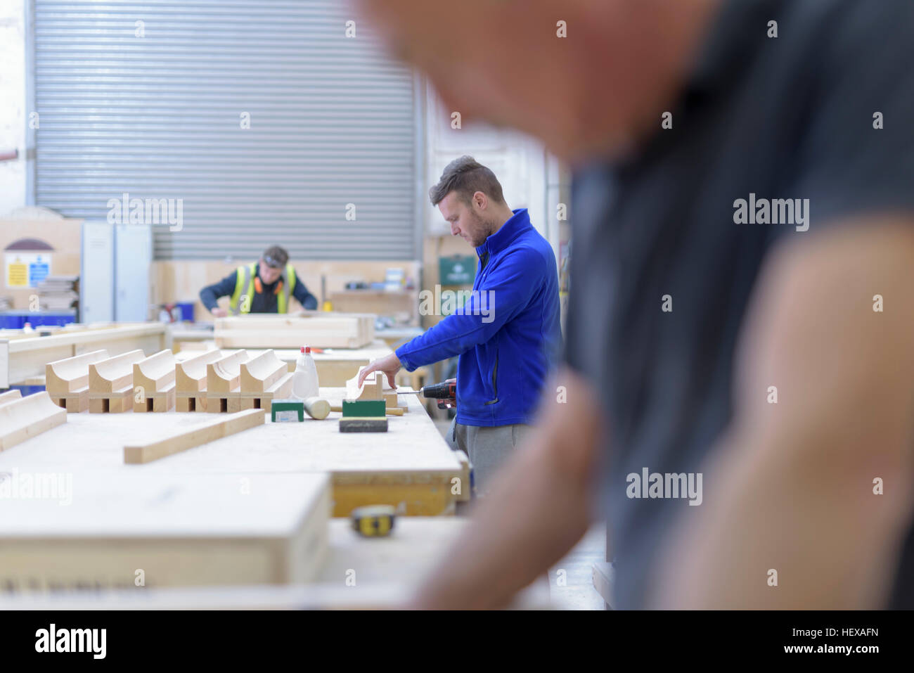 Woodworking in architectural stone factory - Stock Image