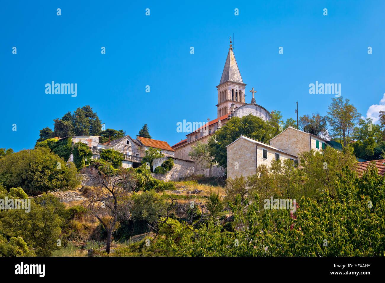 Nerezisca village landmarks on Brac island, Dalmatia, Croatia - Stock Image