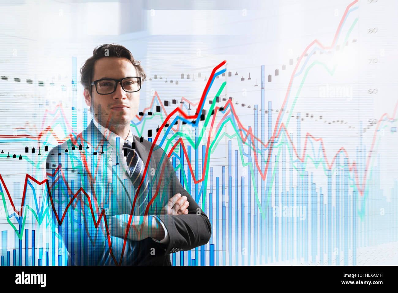 Conceptual image of businessman with graph data - Stock Image
