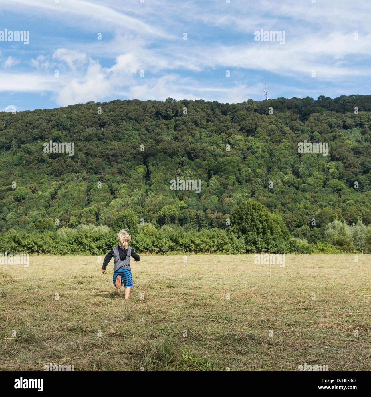 Rear view of boy running in field, Porta Westfalica, North Rhine Westphalia, Germany Stock Photo