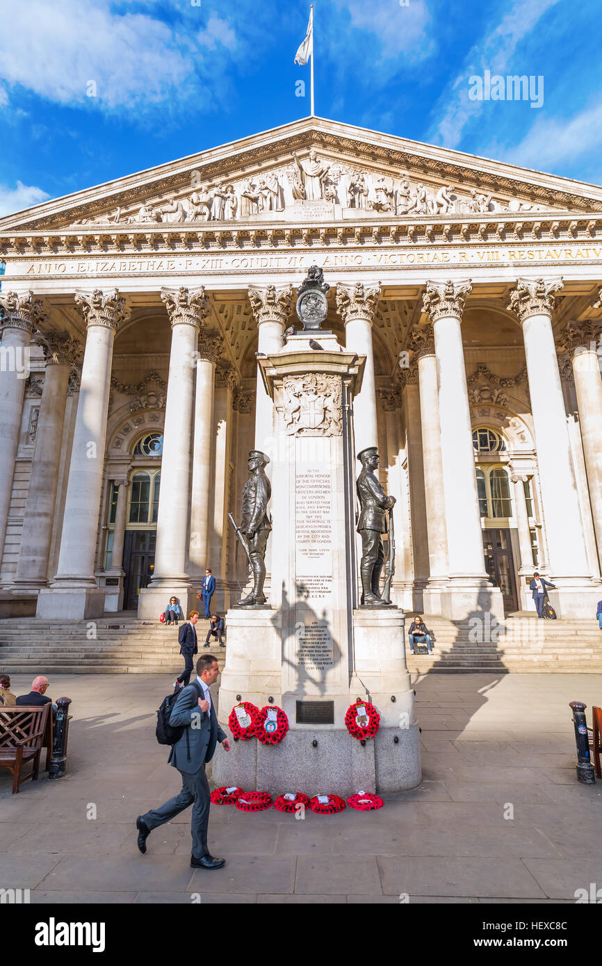 London, UK - June 15,2016: Royal Exchange at the Bank junction with unidentified people. It was founded in 16th - Stock Image