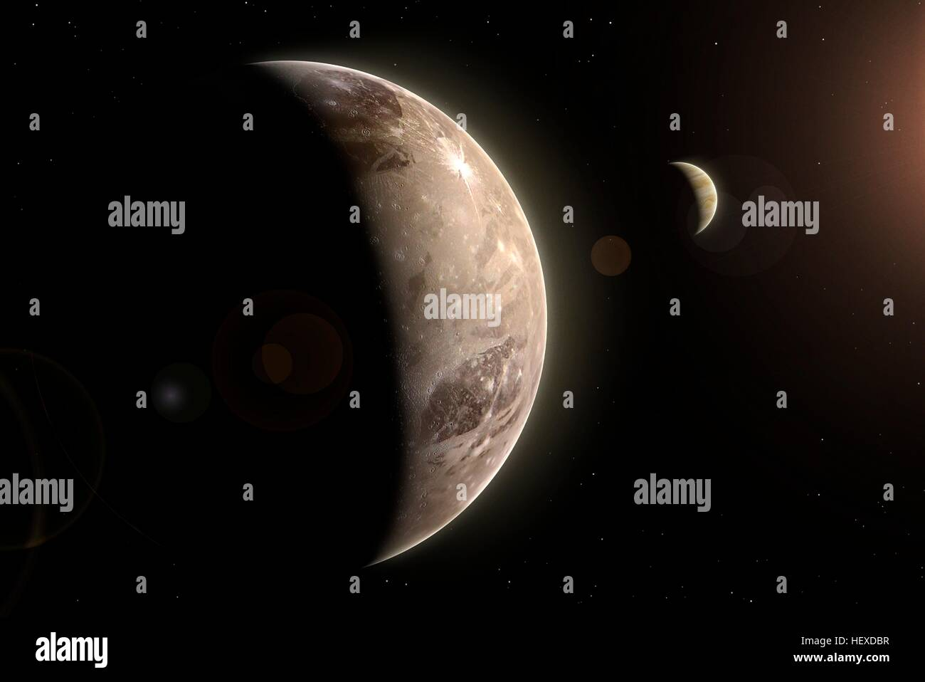Ganymede is the largest of the four Galilean moons of Jupiter - indeed the largest moon of any known planet, bigger - Stock Image