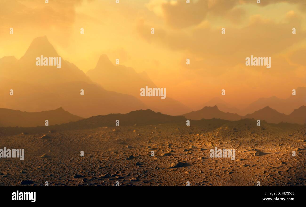 Surface of Venus. Computer illustration of a view across the rocky surface of the planet Venus, showing clouds of - Stock Image