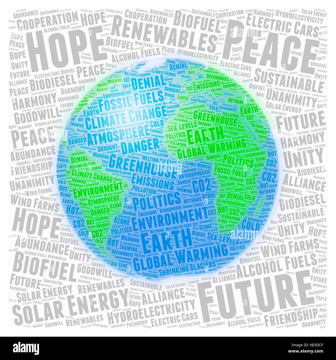 Illustration in the form of a word cloud, depicting global warming. Words related to global warming (e.g. environment, - Stock Image