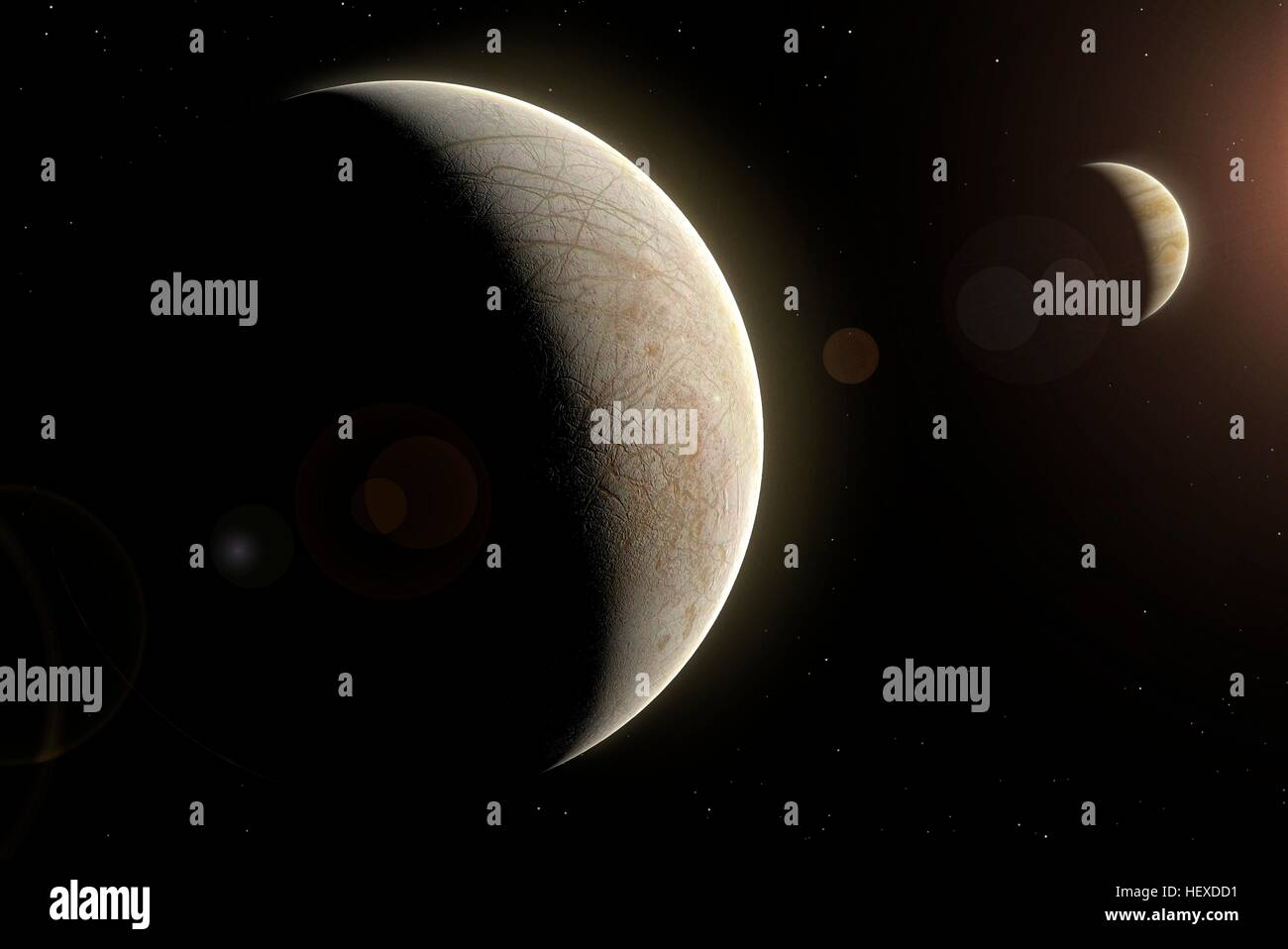 Europa is one of the four Galilean moons of Jupiter, the second farthest one from the planet. Its surface is a cracked - Stock Image