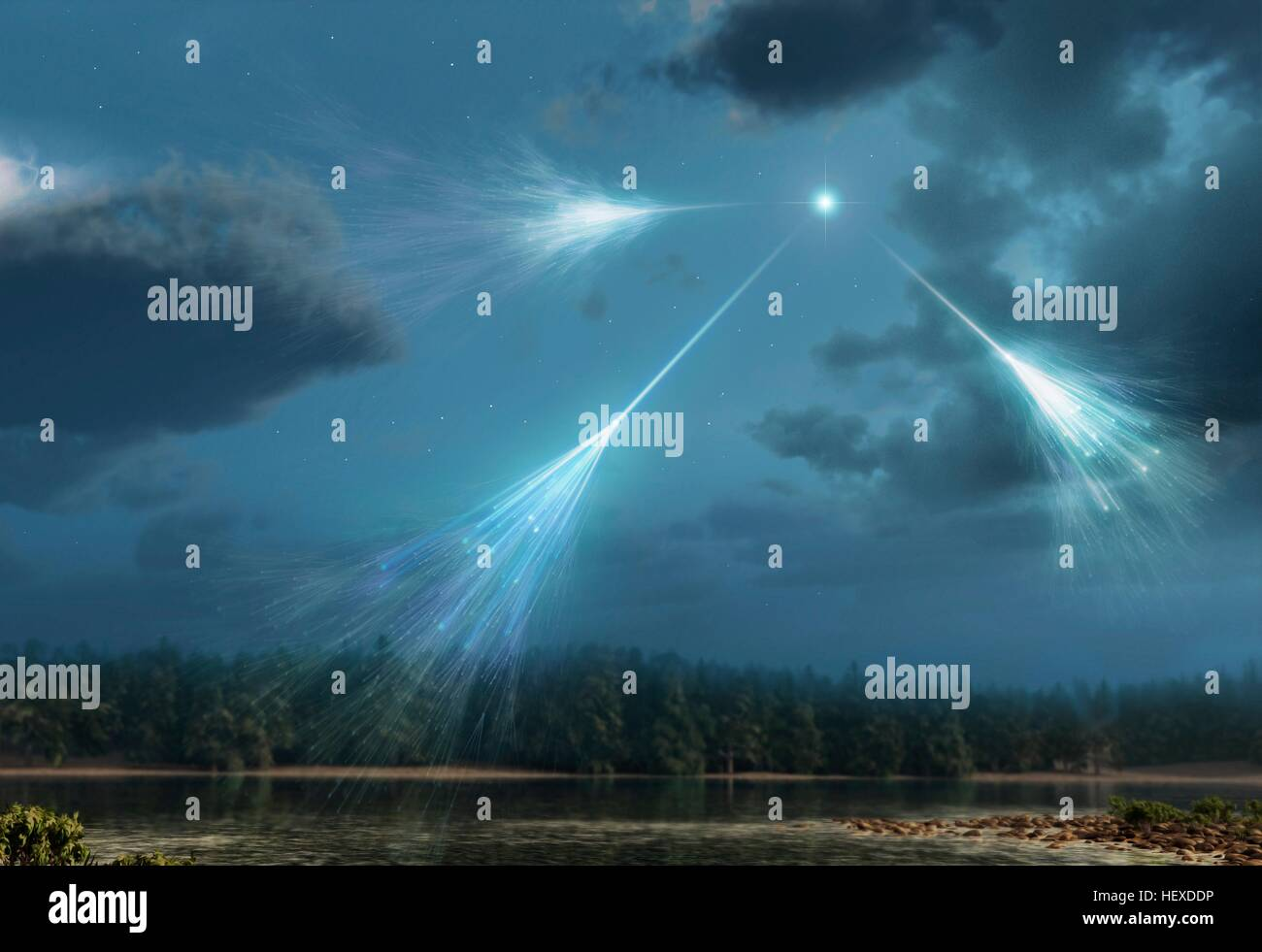 Cosmic rays.Artwork of high-energy particles radiation from star in deep space (cosmic rays) impacting molecules - Stock Image