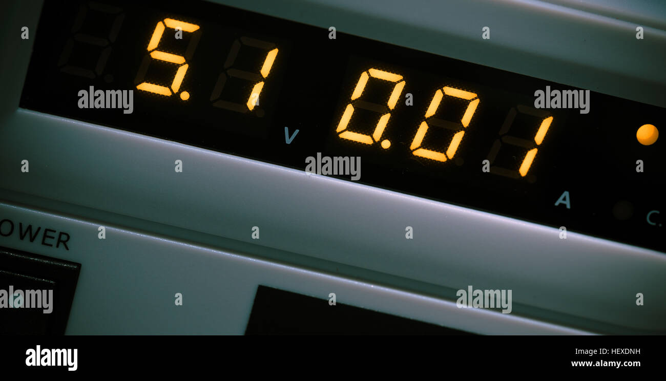Digital display on instrument of measurement. - Stock Image