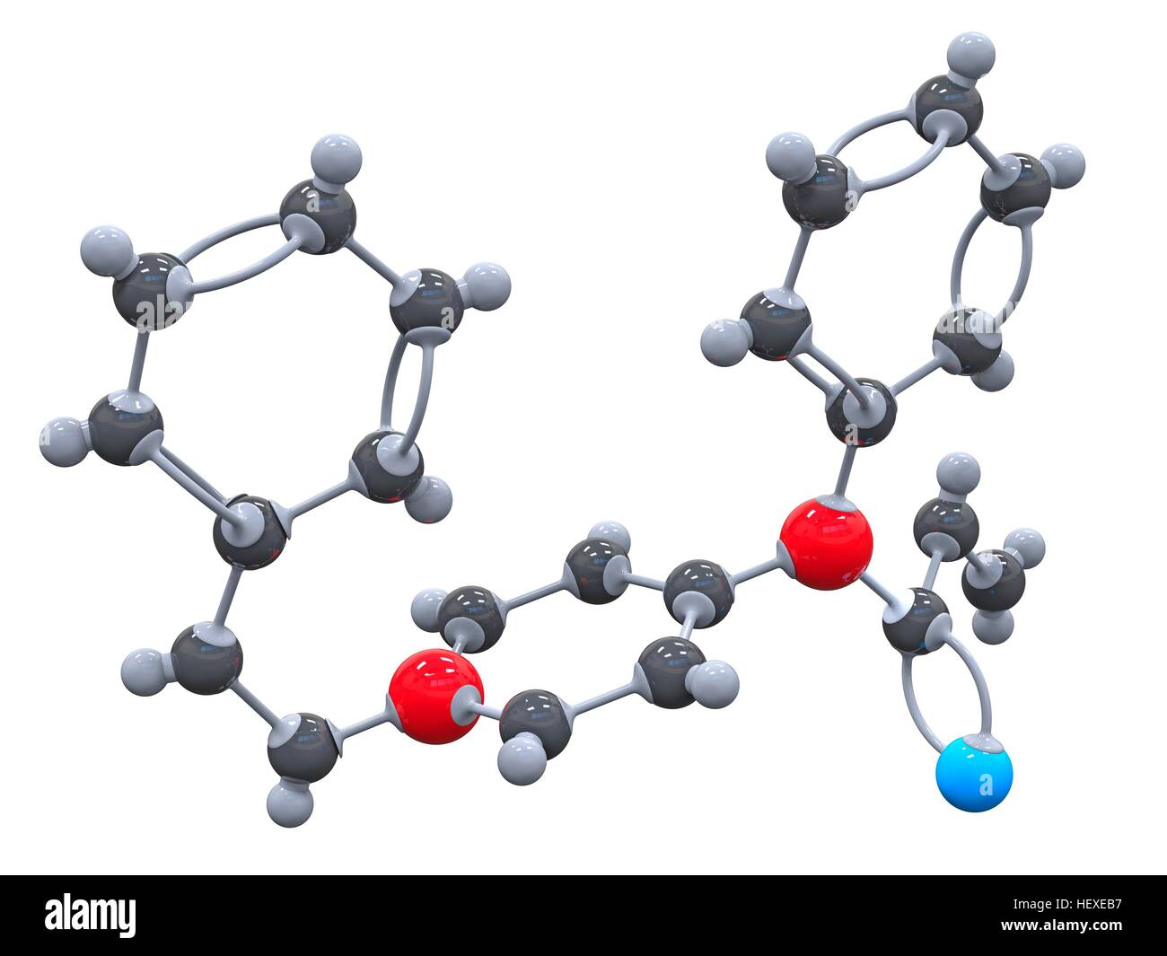 Fentanyl. Molecular model of the drug fentanyl (C22.H28.N2.O), a synthetic narcotic analgesic used for its rapid - Stock Image