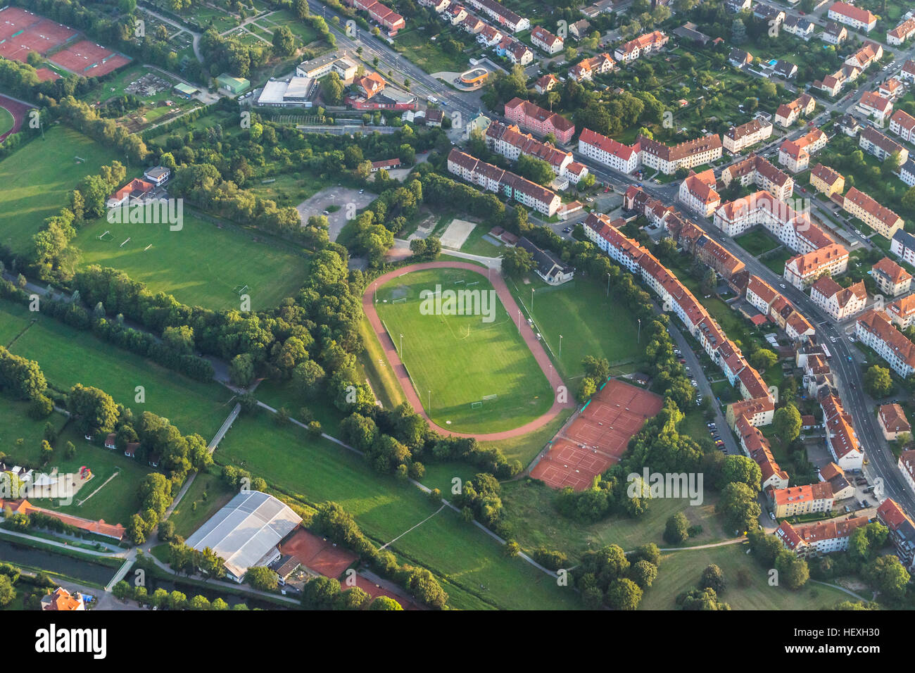 Germany, Hildesheim, arial view of sportsfield - Stock Image