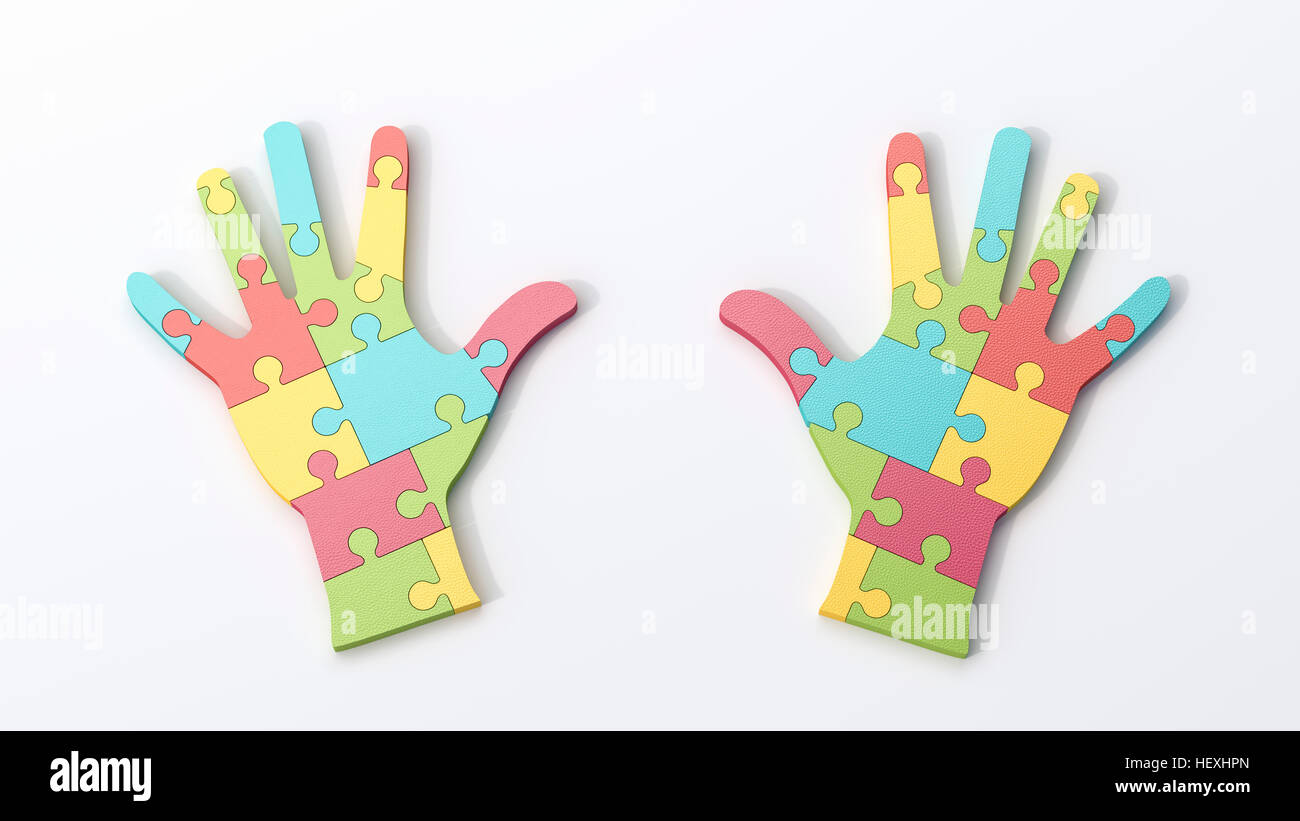 Two multicolored puzzle hands - Stock Image
