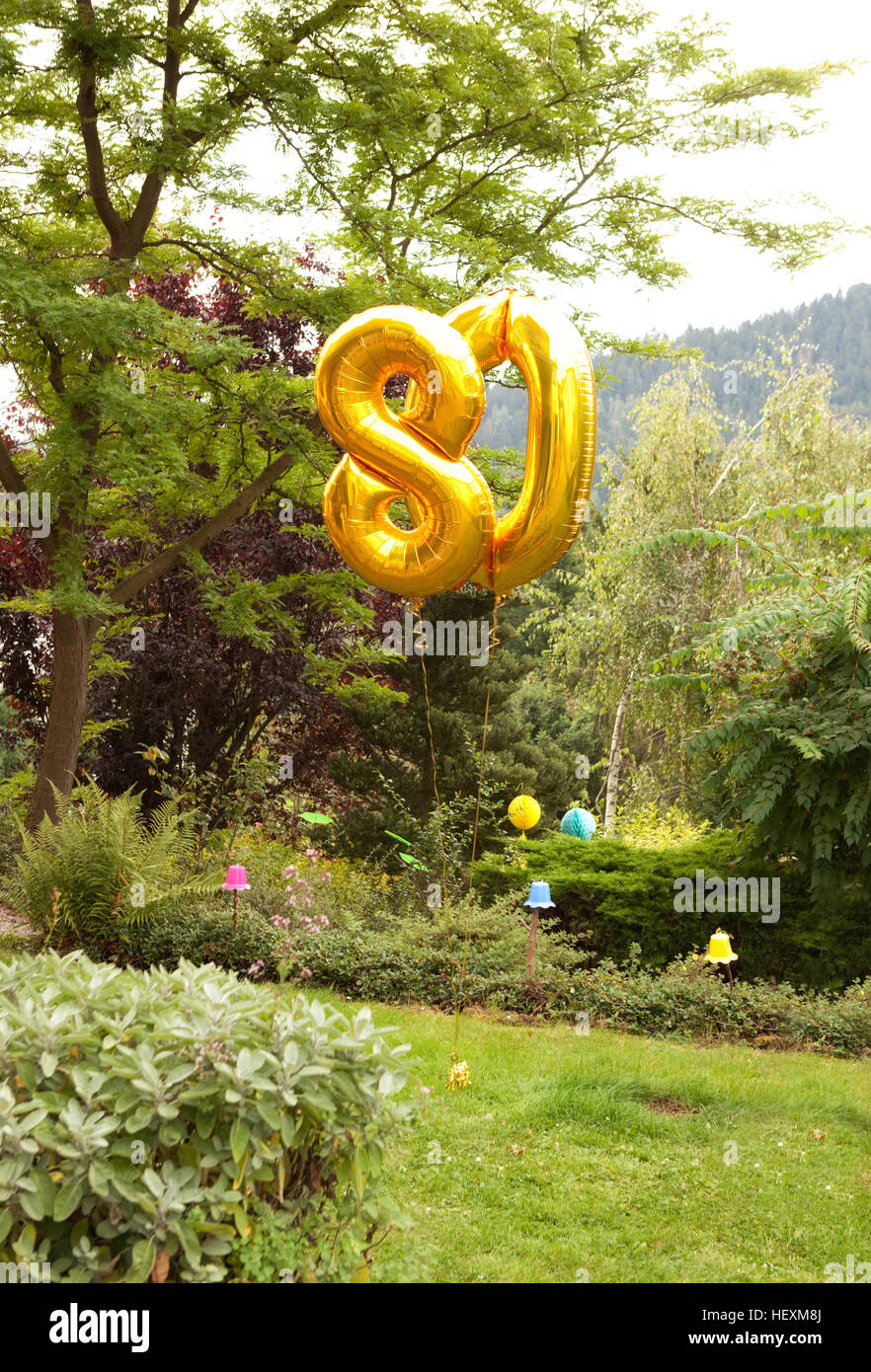 Dekoration for 80th birthday in garden with golden balloons - Stock Image
