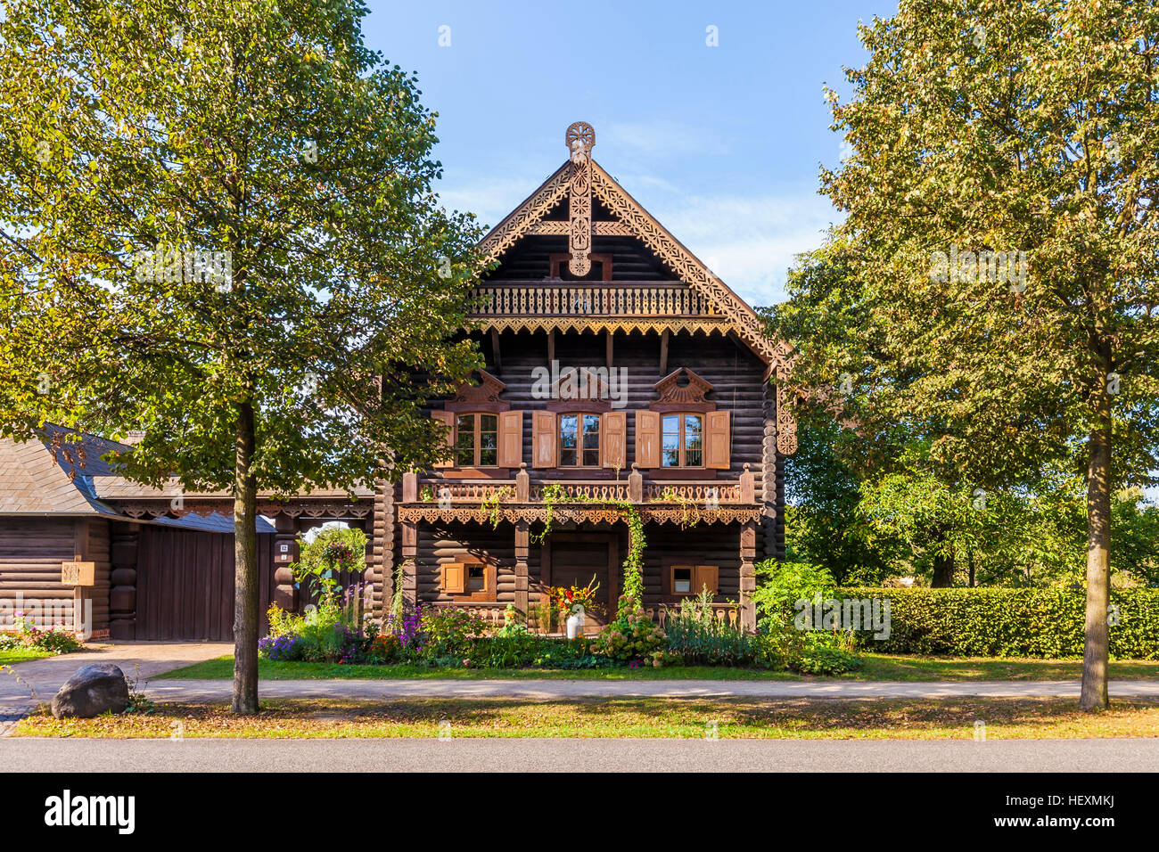 Germany, Potsdam, typical frame house at Alexandrowka - Stock Image