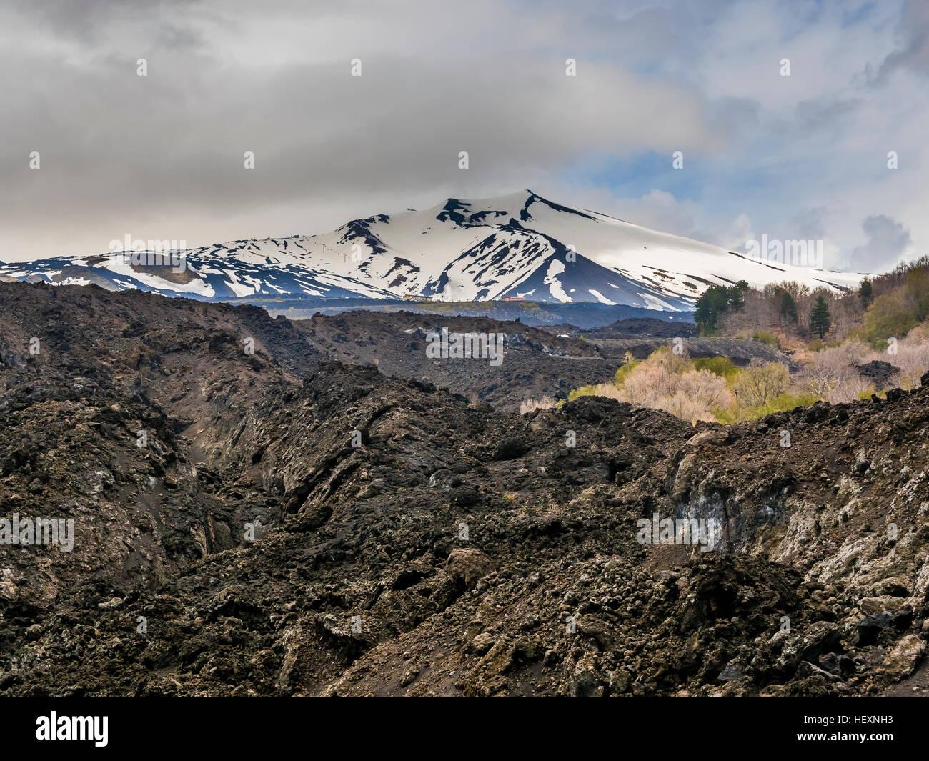 Italy, Sicily, Mount Etna, lava fields - Stock Image