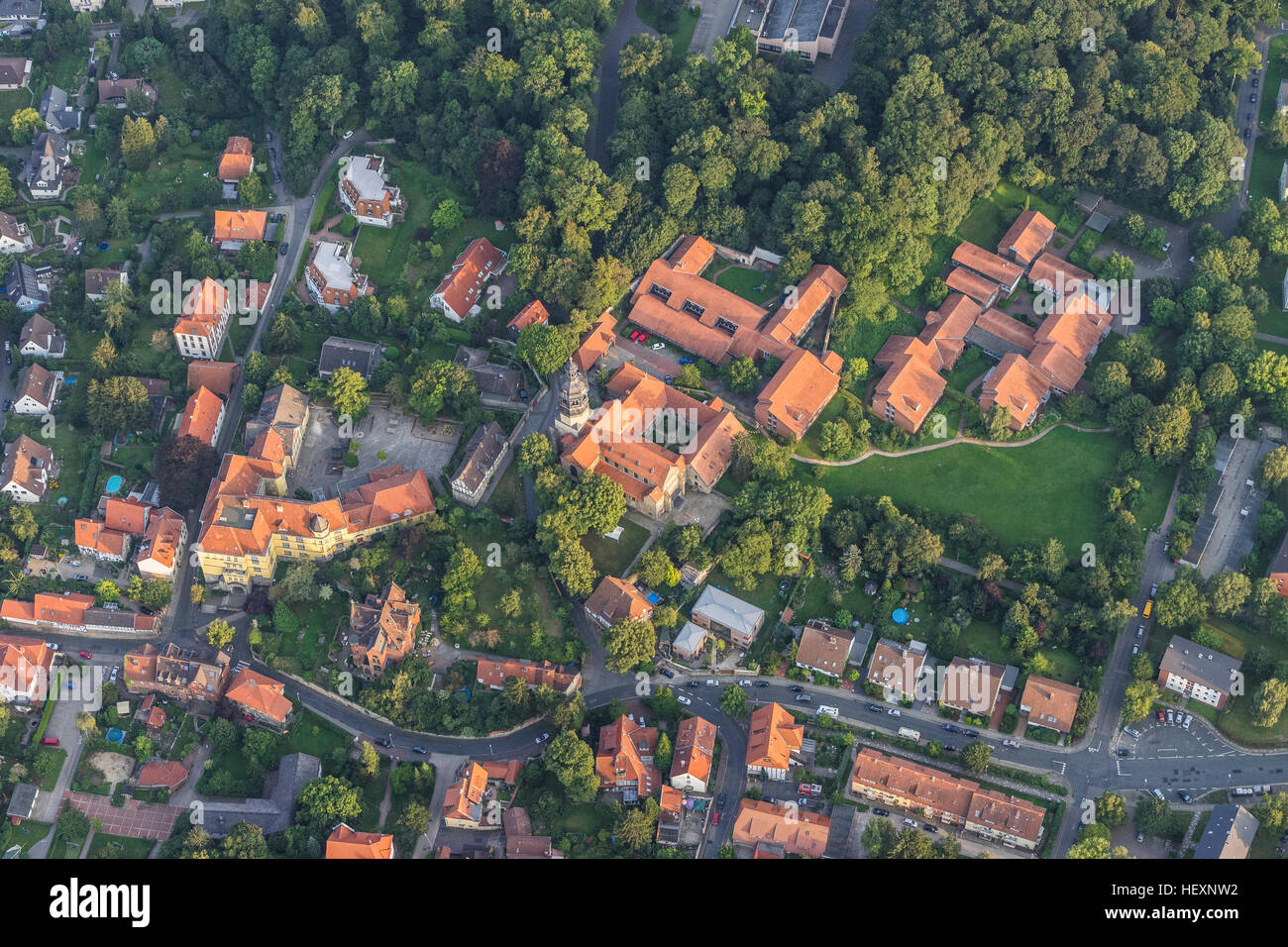 Germany, Hildesheim, arial view of St. Mauritius - Stock Image
