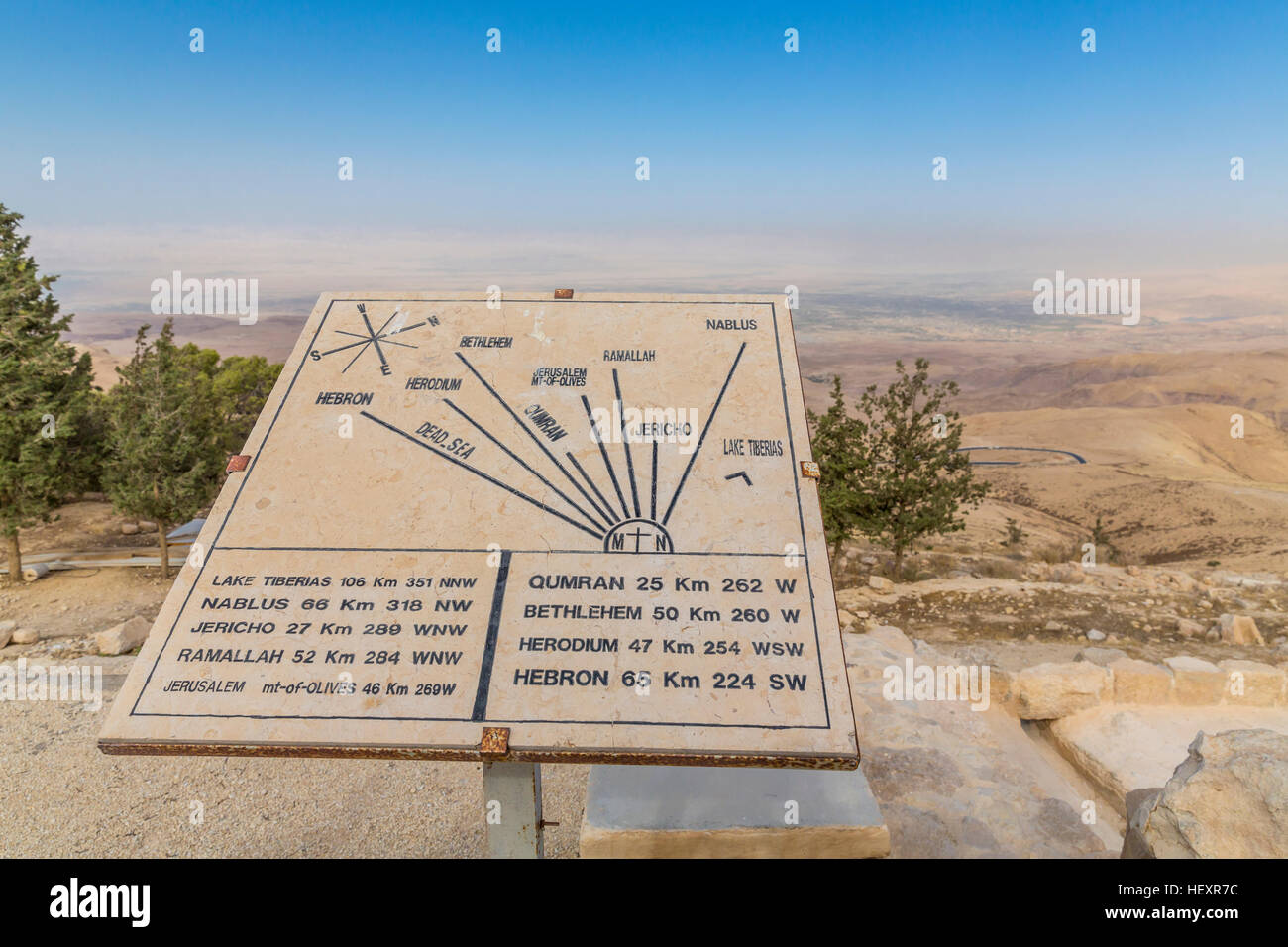 Jordan, Madaba Province, sign with indications of distance on Mount Nebo - Stock Image