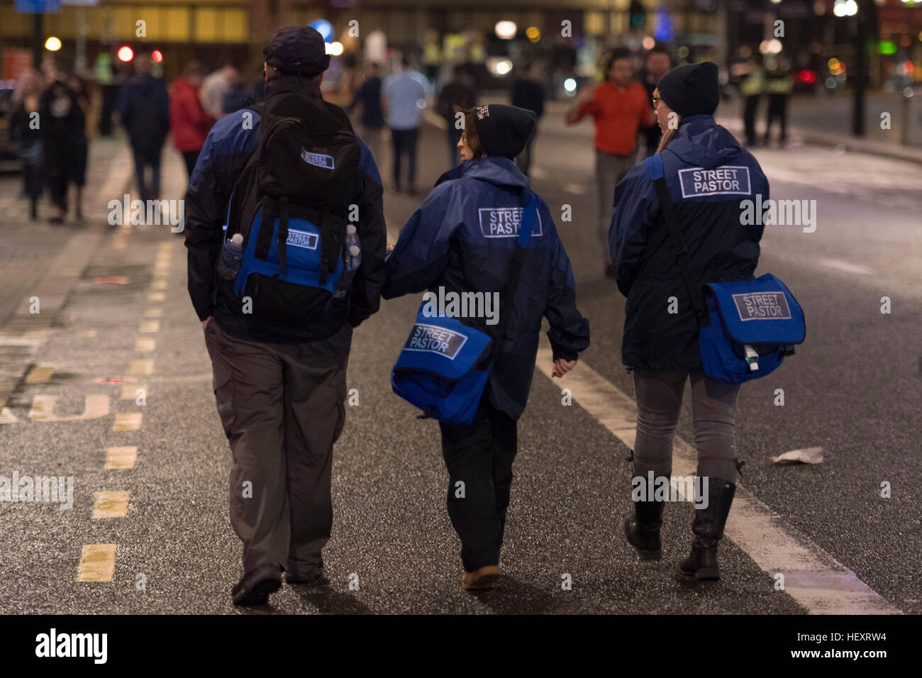 Street pastors on St. Mary's Street during Black Friday in Cardiff, South Wales. Black Friday / Mad Friday is - Stock Image