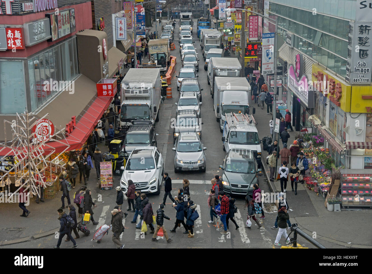 Intersection of the busy intersection of Main Street and 40th road in Chinatown, downtown Flushing, New York City - Stock Image