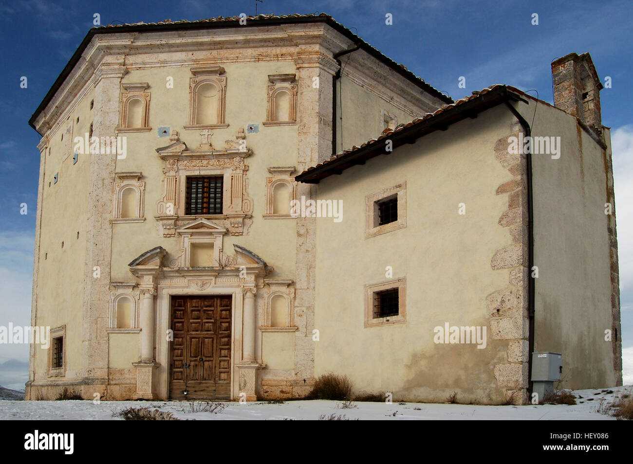 The church of St. Mary of Piety at Rocca Calascio, Abruzzo Stock Photo