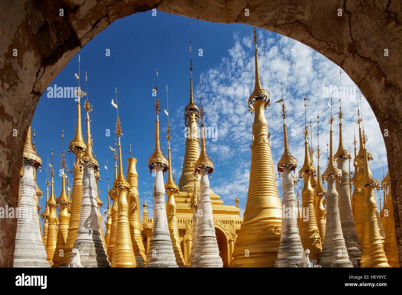 Shwe Inn Dain Pagoda, Inle Lake, Mynamar - Stock Image