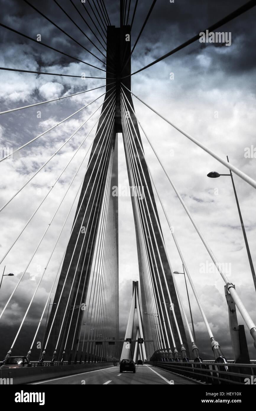 Crossing the Rio-Antirrio cable bridge Stock Photo