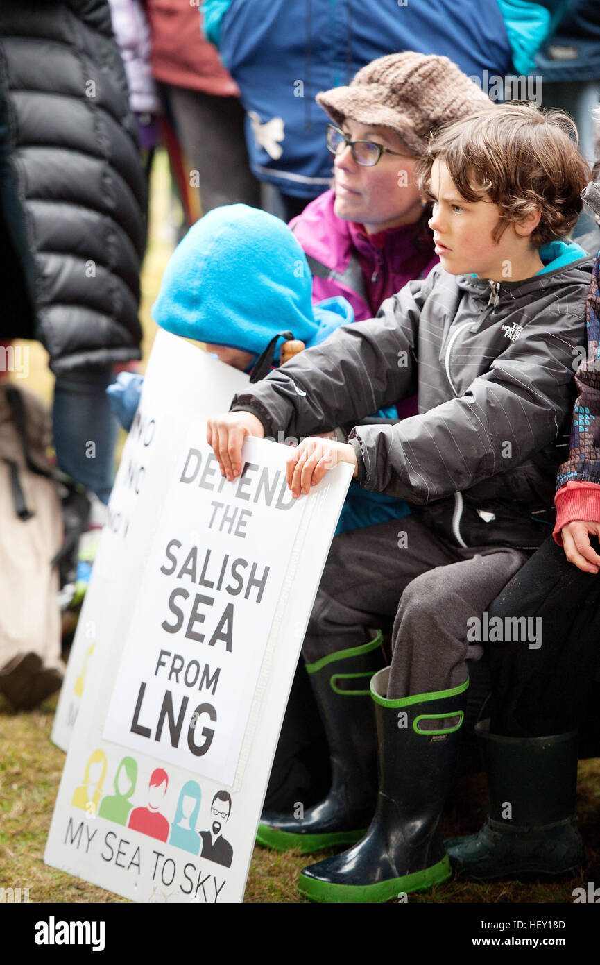 Local Indians and First Nations members protest against the proposed Woodfibre LNG pipeline project.  Squamish BC, - Stock Image