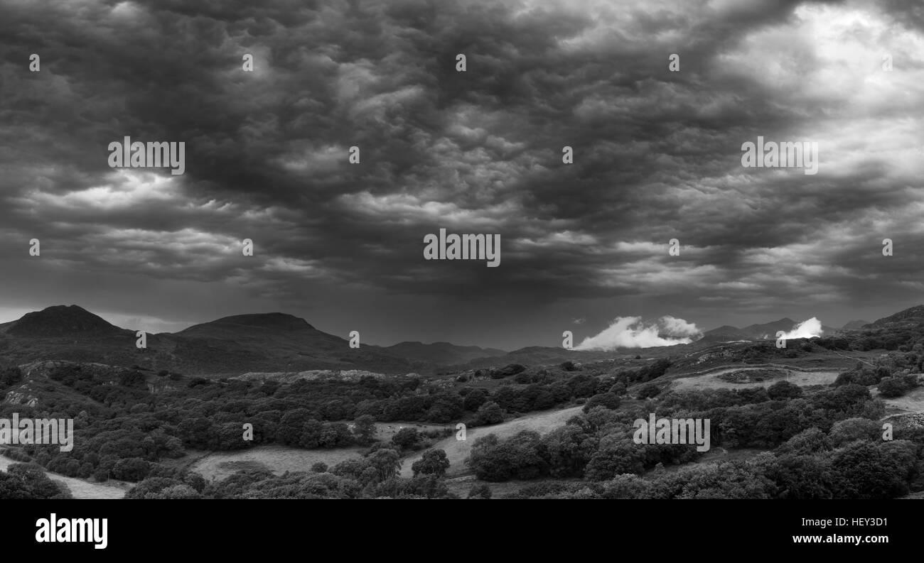 A thunder storm passes over Snowdonia Stock Photo