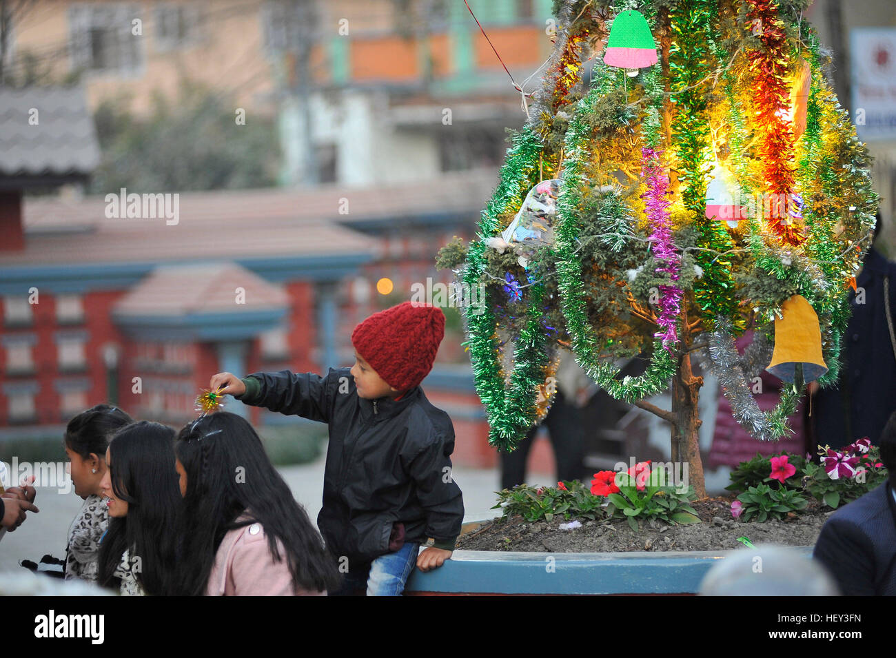 Kathmandu Nepal 24th Dec 2016 A Kid Plays With His Sister During