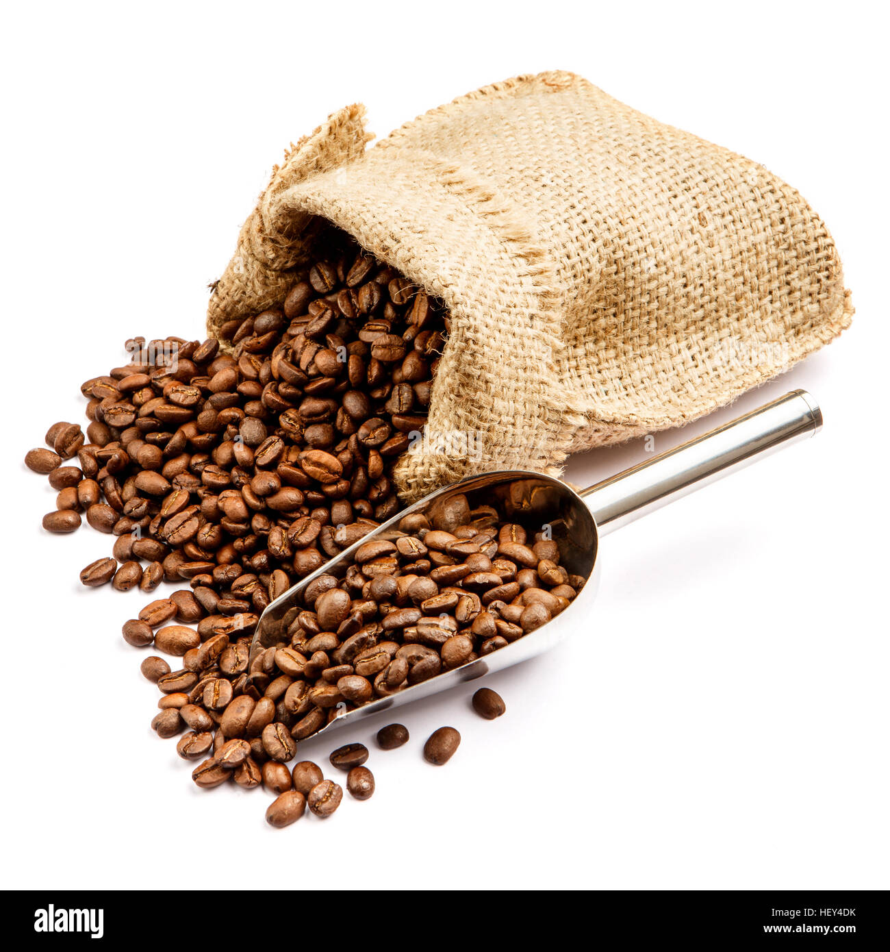 roasted coffee beans in bag isolated on white background - Stock Image