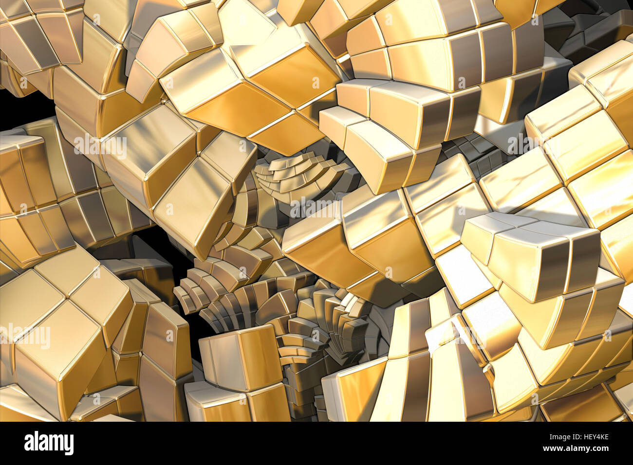 computer generated fractal golden stairs - Stock Image