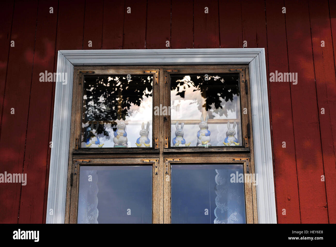 Finish wooden house in Turku, Finland - Stock Image
