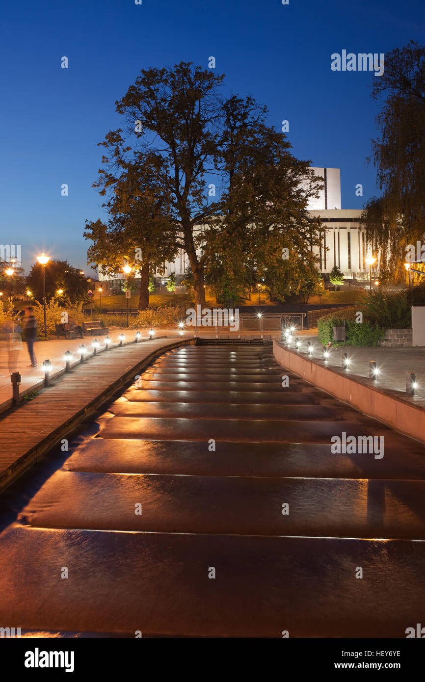Water cascades, cascading canal at night at Mill Island in Bydgoszcz, Poland, Europe - Stock Image