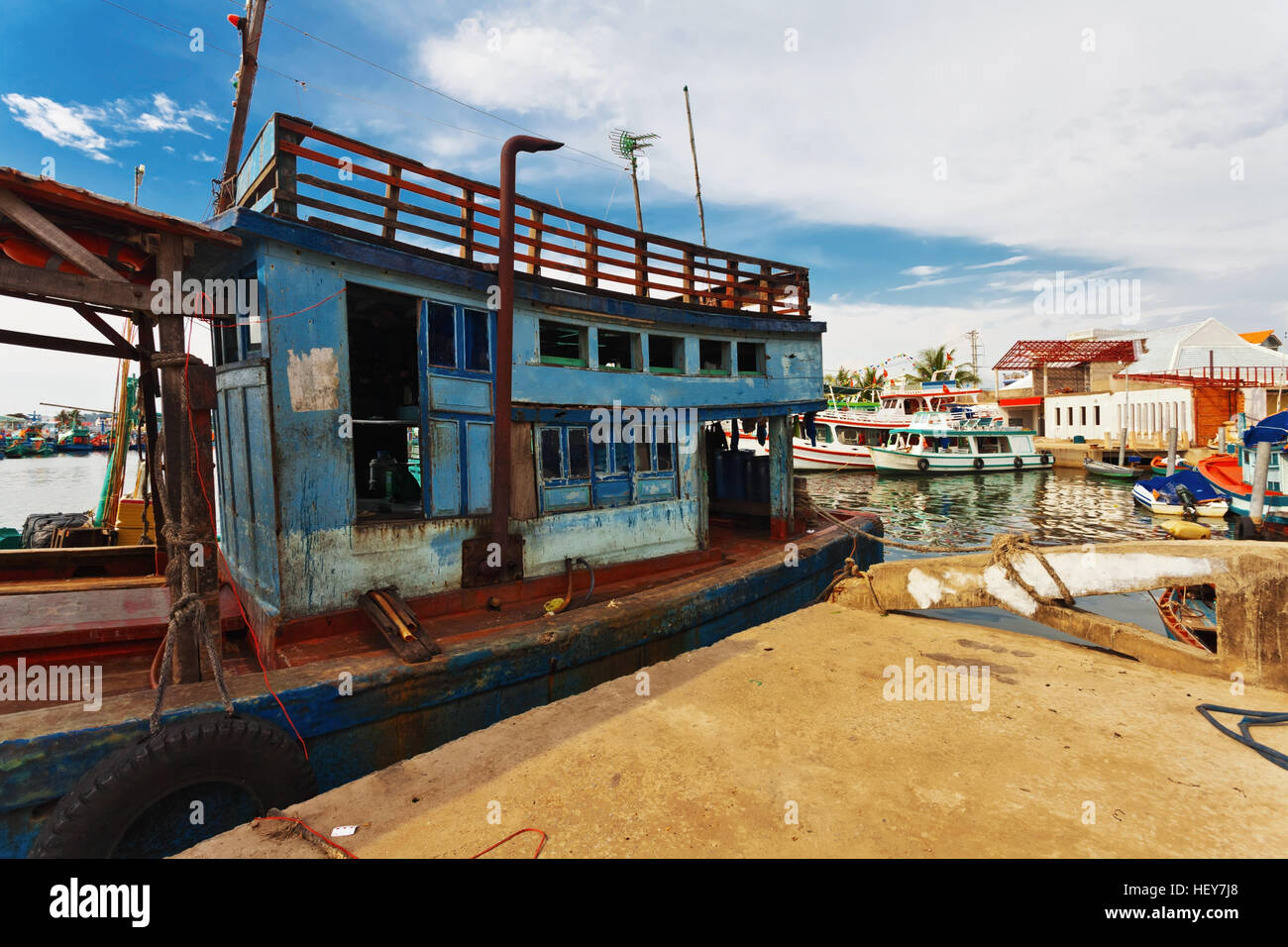 Fishing boats in port at Phu Quoc island. Vietnam - Stock Image
