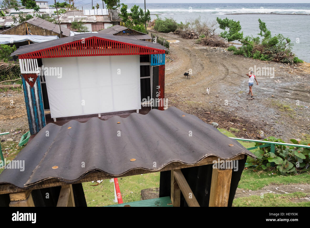 Projection screen set up for showing outdoor propaganda films at Yomuri, Baracoa, Cuba - Stock Image