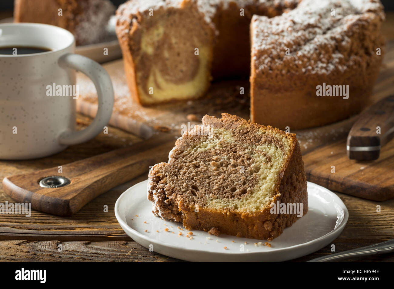 Homemade Cinnamon Coffee Cake with Powdered Sugar - Stock Image