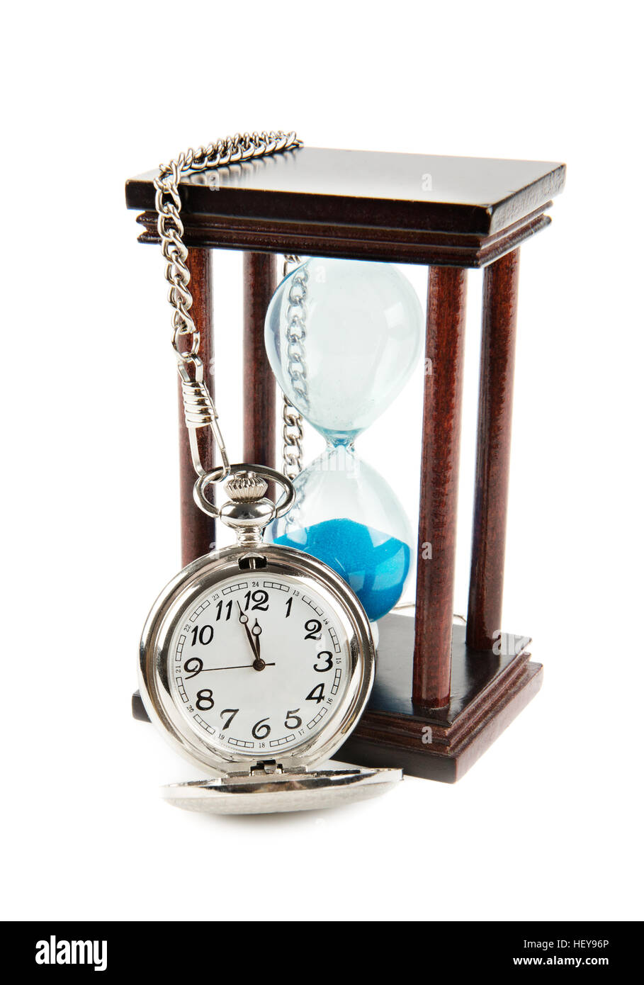 hourglass and a pocket watch isolated on white background - Stock Image