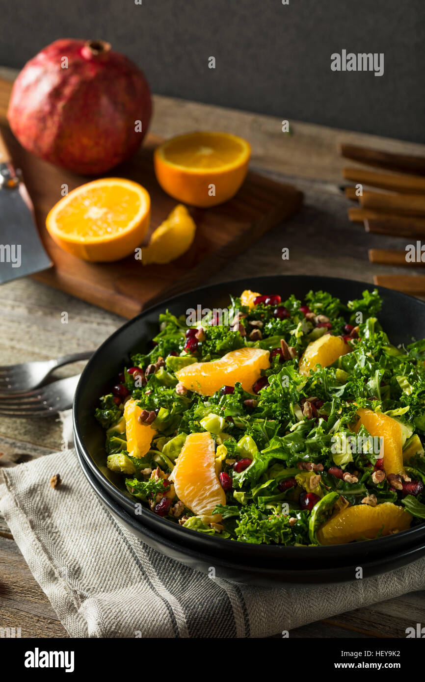 Raw Healthy Kale Winter Salad with Oranges and Pomegranate Seeds - Stock Image