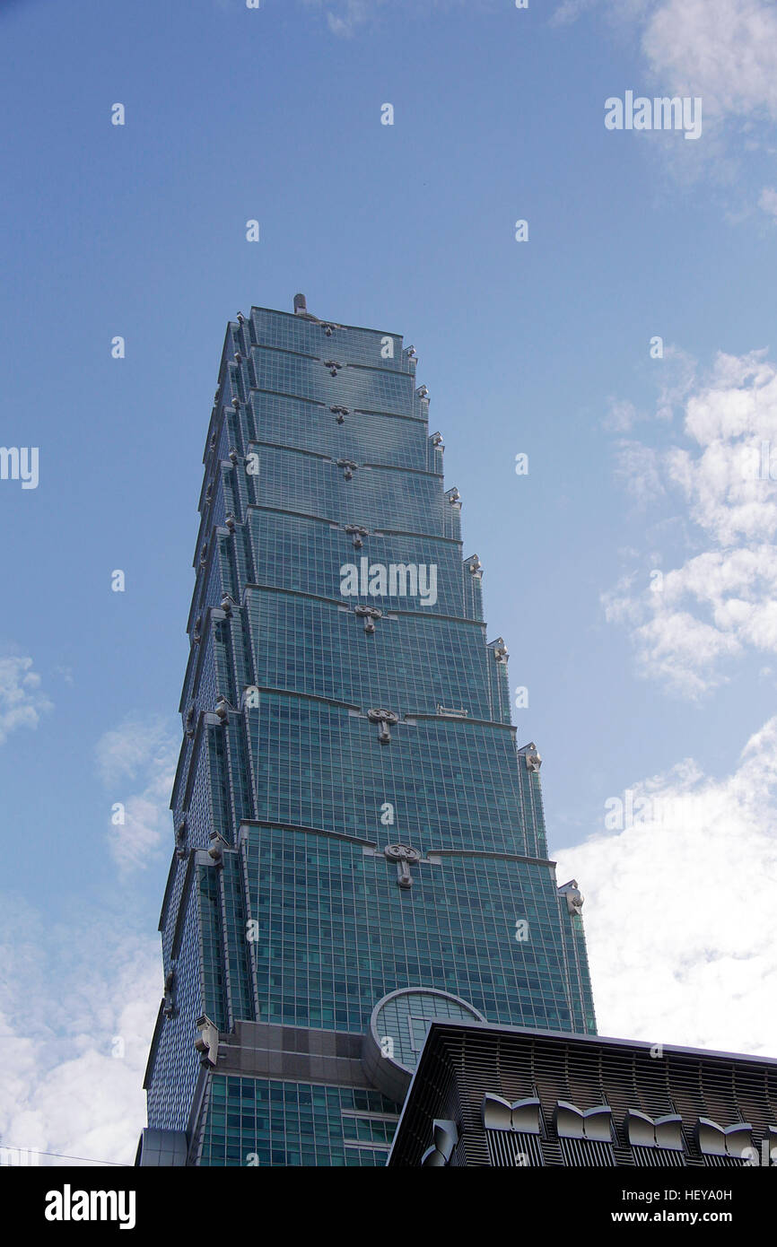 Looking at a building tower sky scraper. - Stock Image
